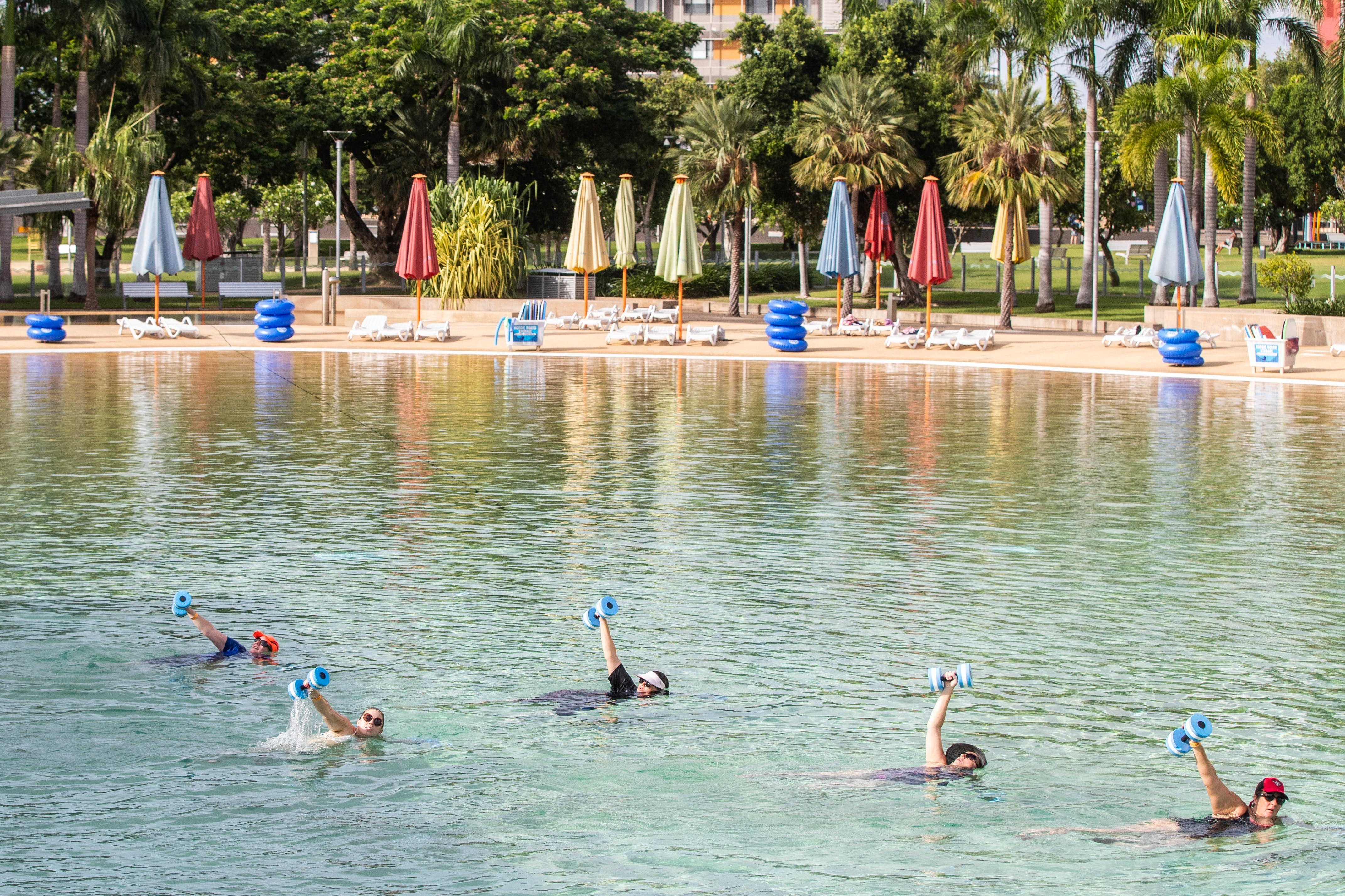 Aqua fitness in the Wave Lagoon - Sunshine Coast Tourism